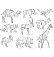 origami wild animal silhouettes vector image
