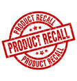 product recall round red grunge stamp vector image vector image