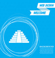 pyramid icon on a blue background with abstract vector image vector image