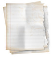 realistic set vintage torn sheet notebook paper vector image vector image