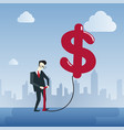 rich business man hold dollar sign money finance vector image