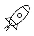 rocket line black icon vector image vector image