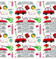school objects seamless pattern vector image