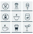 set of 9 eating icons includes alcohol forbid vector image vector image