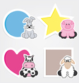 set of animal stickers vector image vector image