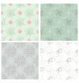 Set of four flower patterns vector image vector image