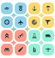 set of simple terror icons vector image vector image