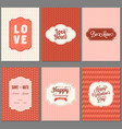 set of valentine greeting card template vector image vector image