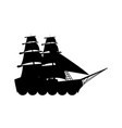 silhouette ship vessel boat nautical vector image
