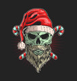 skull santa with beard graphic vector image vector image
