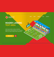soccer stadium competition landing web page vector image vector image