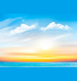 sunset sky background with transparent clouds and vector image vector image