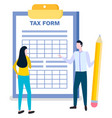 tax form completing man woman online consultant