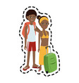 traveling couple with suitcase icon image vector image vector image