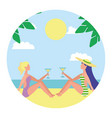two woman sitting on beach with cocktails in hands vector image