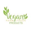 Vegan Natural Food Green Logo Design Calligraphic vector image vector image
