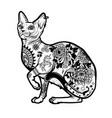 vintage cat tattoo design vector image