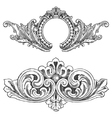 Vintage floral wood print decorative elements vector image vector image