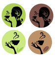 woman drinking coffee and tea vector image