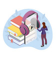 woman listening to an audiobook audiobooks vector image