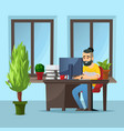 young designer using graphics tablet vector image