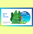 young man riding bicycle vector image vector image