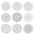 Round mandala set of black and a white line vector image