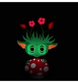 a green monster with flowers vector image vector image