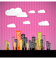 Abstract Retro Paper City with Clouds and Pink vector image vector image