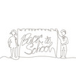 back to school - one line design style vector image vector image