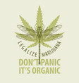 banner for legalize marijuana with cannabis leaf vector image