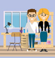 business coworkers at office vector image vector image