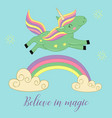 card with unicorn over the rainbow vector image vector image