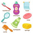 cartoon bathroom accessories vocabulary vector image vector image