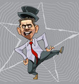 cartoon man in a tie and hat dancing vector image vector image