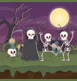 celebrating skeletons and death night halloween vector image