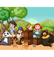 Children and wild animals outside vector image vector image