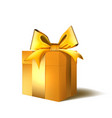 christmas or new year day gold gift box with bow vector image vector image