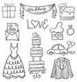 collection of wedding element in doodle style vector image vector image