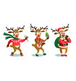 cute and funny christmas reindeers cartoon vector image vector image