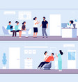 dentist clinic tooth pain patient queue in vector image