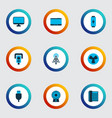 device icons colored set with tablet router vector image vector image