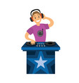 dj smiling boy character mixer making music vector image