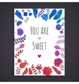Doodle flowers greeting card template vector image