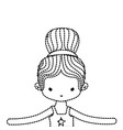 dotted shape girl dancing ballet with bun hair vector image vector image
