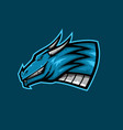 fat dragon head mascot logo big blue dragon vector image