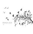 figure flock flying birds on tree branch vector image vector image