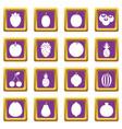 fruit icons set purple vector image vector image