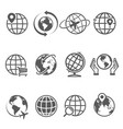 globes line icons set isolated on white location vector image