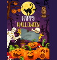 halloween pumpkin monsters and mummy at cemetery vector image vector image